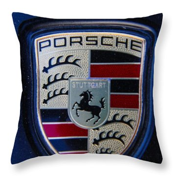 Throw Pillow featuring the photograph Porsche Emblem by Robert Hebert
