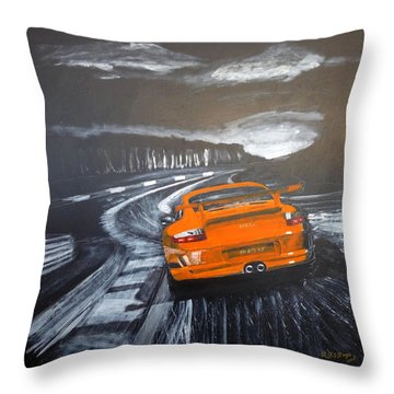 Throw Pillow featuring the painting Porsche Gt3 @ Le Mans #3 by Richard Le Page