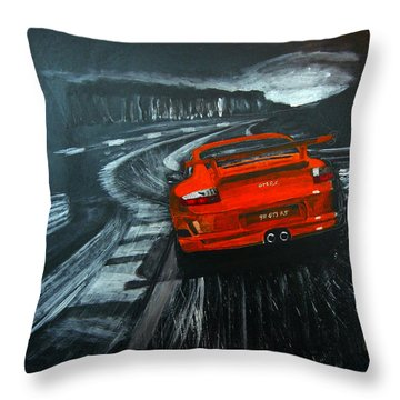 Throw Pillow featuring the painting Porsche Gt3 Le Mans by Richard Le Page