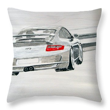 Throw Pillow featuring the painting Porsche Gt3 by Richard Le Page