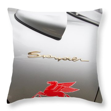 Porsche Spyder And The Flying Red Horse Throw Pillow by Roger Mullenhour