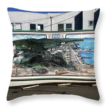 Port Angeles 1914 Mural Throw Pillow by David Lee Thompson