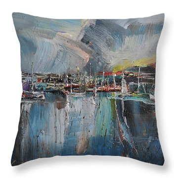 Port At Dusk II Throw Pillow