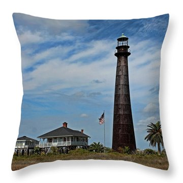 Throw Pillow featuring the photograph Port Bolivar Lighthouse by Judy Vincent