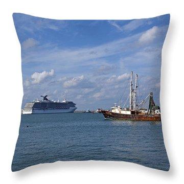 Port Canaveral In Florida Usa Throw Pillow by Allan  Hughes