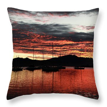 Port Denarau Fiji At Sunrise Throw Pillow