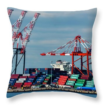 Port Newark Container Terminal Throw Pillow