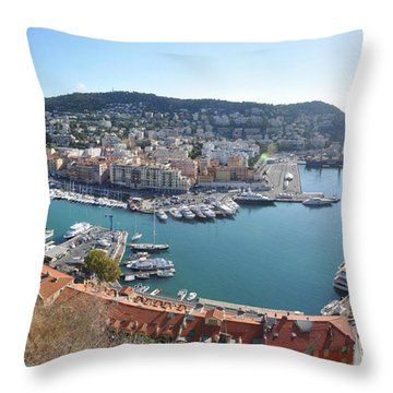 Throw Pillow featuring the photograph Port Nice Panorama by Yhun Suarez