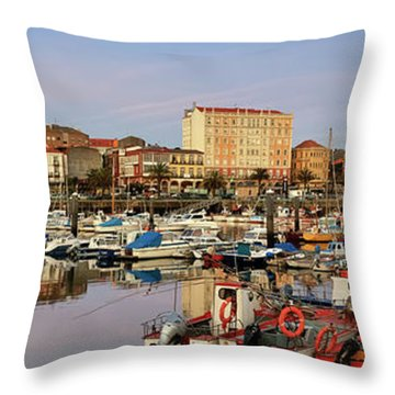 Port Of Ferrol Galicia Spain Throw Pillow