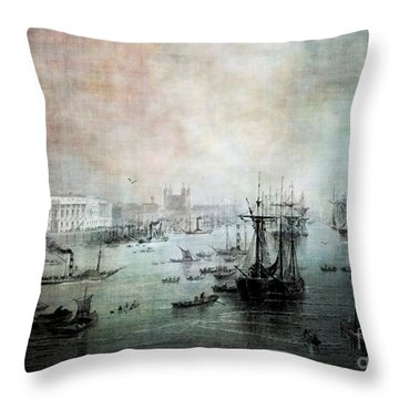 Port Of London - Circa 1840 Throw Pillow by Lianne Schneider