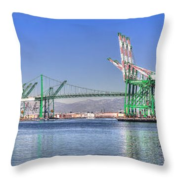 Port Of Los Angeles - Panoramic Throw Pillow