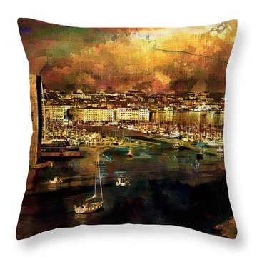 The Old Port Of Marseille Throw Pillow