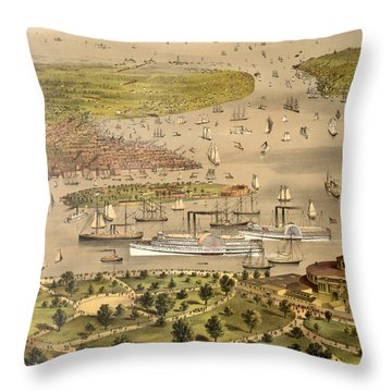 Port Of New York, Birds Eye View From The Battery Looking South, Circa 1878 Throw Pillow
