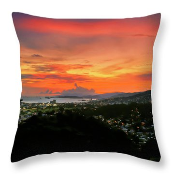 Port Of Spain Sunset Throw Pillow