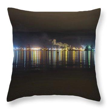 Port Of Tacoma Lights Throw Pillow