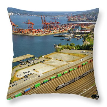 Port Of Vancouver Bc Throw Pillow by David Gn