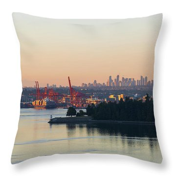 Port Of Vancouver By Stanley Park Throw Pillow by David Gn