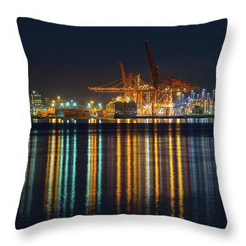 Port Of Vancouver In British Columbia Canada Throw Pillow by David Gn