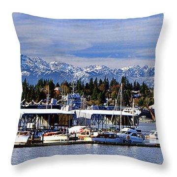 Port Orchard Marina And The Olympics Throw Pillow by John Bushnell