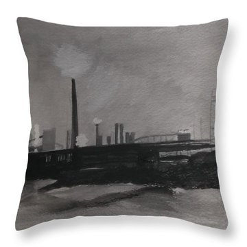 Port Talbot Steel Works Throw Pillow by Carole Robins
