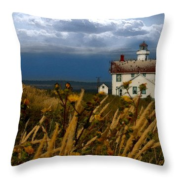 Port Townsend Light House Wa Throw Pillow by Joseph G Holland