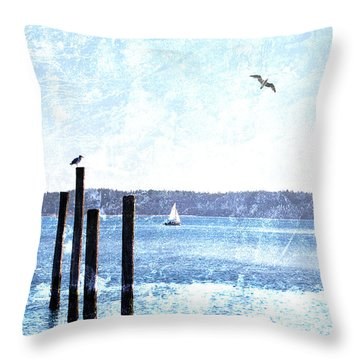 Port Townsend Pilings Throw Pillow