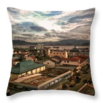 Port View At River Mahakam Throw Pillow by Charuhas Images