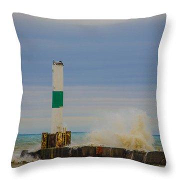 Throw Pillow featuring the photograph Port Washington Light 2 by Deborah Smolinske