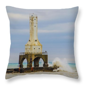 Throw Pillow featuring the photograph Port Washington Light 3 by Deborah Smolinske