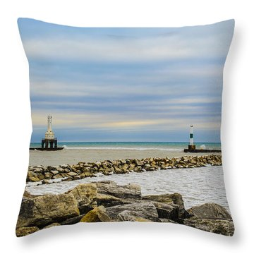 Throw Pillow featuring the photograph Port Washington Light 5 by Deborah Smolinske