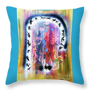 Throw Pillow featuring the painting Portal Of Beginning Again by Roberto Prusso