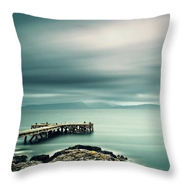 Portencross Pier Throw Pillow