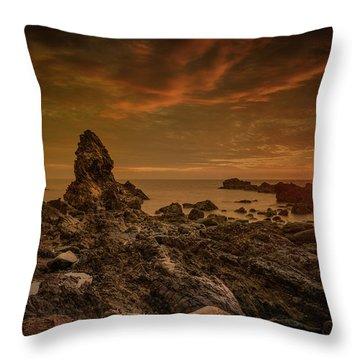 Porth Saint Beach At Sunset. Throw Pillow