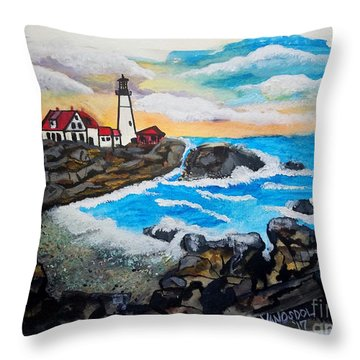Porthead Lighthouse Maine In Watercolors Throw Pillow