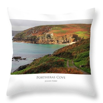 Throw Pillow featuring the digital art Portheras Cove by Julian Perry
