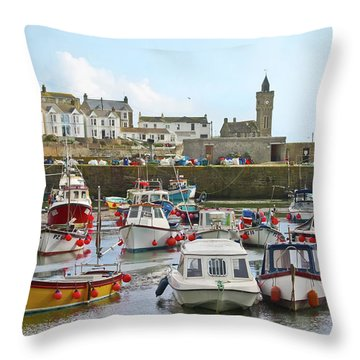 Porthleven Inner Harbour Throw Pillow
