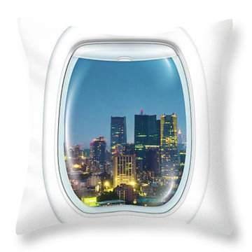 Porthole Frame On Tokyo Tower Throw Pillow