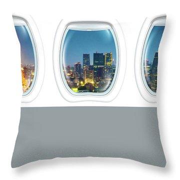 Porthole Frame On Tokyo Tower Throw Pillow