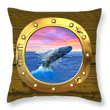 Porthole View Of Breaching Whale Throw Pillow