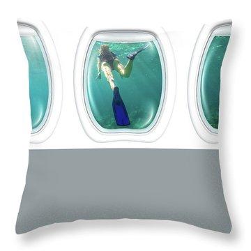 Porthole Windows On Coral Reef Throw Pillow