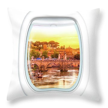 Porthole Windows On Rome Throw Pillow