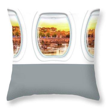 Porthole Windows On Rome Throw Pillow