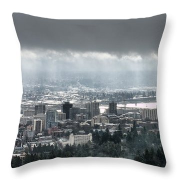 Portland After A Morning Rain Throw Pillow by Don Schwartz