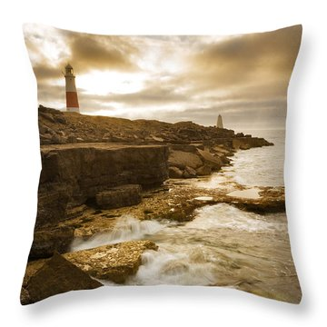 Portland Bill Lighthouse Throw Pillow