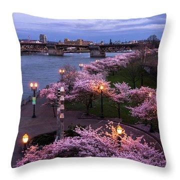 Portland Cherry Blossoms Throw Pillow