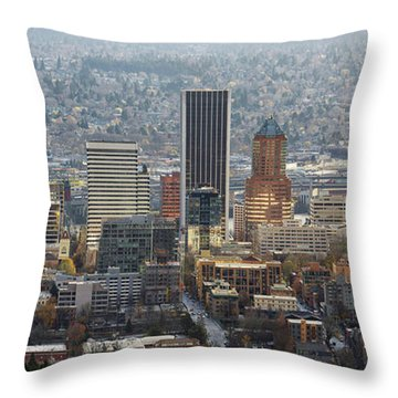 Portland City Downtown Cityscape Panorama Throw Pillow by David Gn