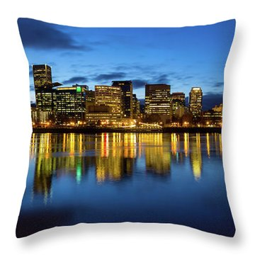 Portland City Skyline Blue Hour Panorama Throw Pillow by David Gn