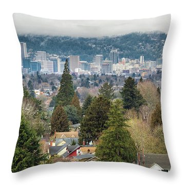 Portland City Skyline From Mount Tabor Throw Pillow by David Gn