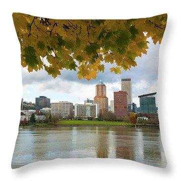 Portland City Skyline Under Fall Foliage Throw Pillow