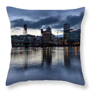 Portland City Skyline With Hawthorne Bridge At Dusk Throw Pillow by David Gn